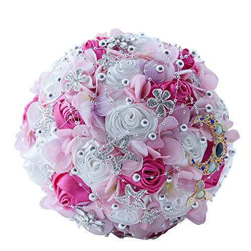 Wedding Bouquets,Amoleya 8 Inch Bridal Bouquets Bridesmaid Bouquet for Wedding with Brooches and Satin Artificial Flowers by Amoleya