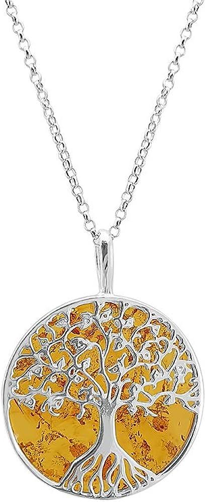 Kiara Jewellery - Collar de plata de ley 925 con colgante de árbol de la vida, con un disco de ámbar marrón en 45,7 cm chapado en rodio con corte de diamante italiano.