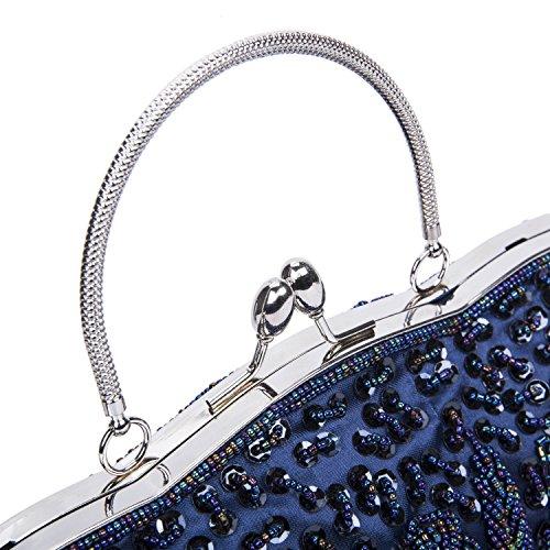 Lifewish Bolso de noche de las mujeres con cuentas de lentejuelas diseño de marco de metal Kissing cerradura de satén interior embrague noche Azul