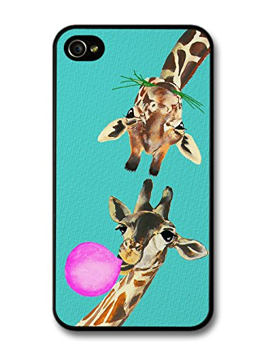 Funny Giraffes Bubble Gum on Turquoise case for iPhone 4 4S