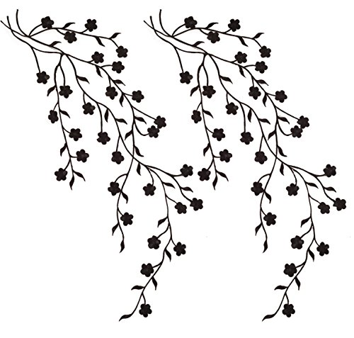 TWO Big Flower Leaf Vines Embroidery Applique Patch, Plum Blossom Flower Patch, Iron on Applique, Flower Applique Patch (Black) (Vines Embroidery)
