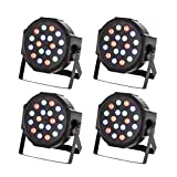 TSSS RGB PAR Light 18 LEDs DMX512 Color Mixing Wash Can Stage Light for Disco DJ Wedding Party Show Live Concert Lighting,4 Pack