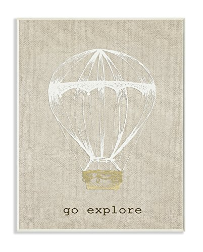 Stupell Home Décor Go Explore Hot Air Balloon Wall Plaque Art, 10 x 0.5 x 15, Proudly Made in USA