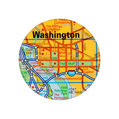 Washington, DC, City Map Photo Print,2.25 Inch Pocket Mirror, Refrigerator Magnet or Pinback Button ()
