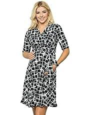 My Bump Women's Overlay Printed Baby Shower Nursing Maternity Wrap Dress