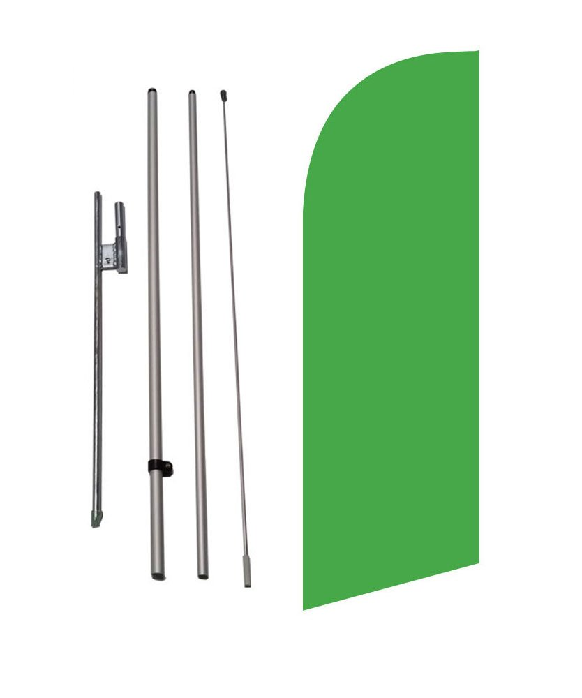 8ft Solid Light Green Color Medium Size Feather Banner Swooper Flag Kit w/Ground Spike