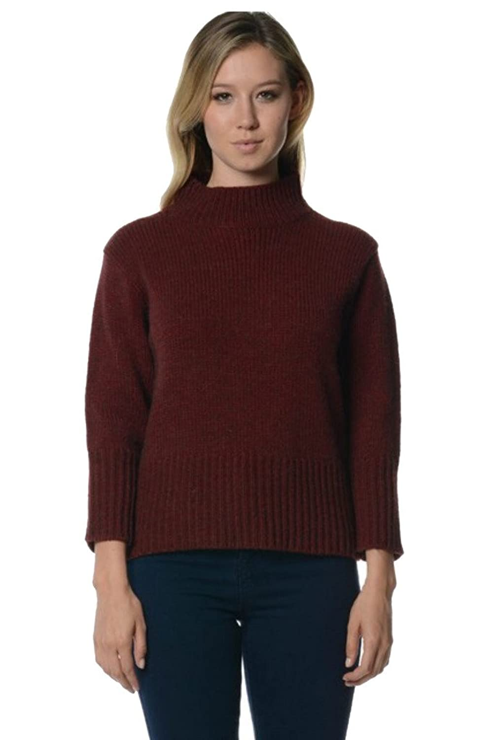 Bloom Women's Funnel Solid Color Chunky Pullover Sweater
