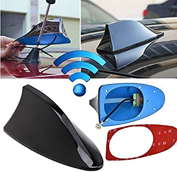 GOZAR ABS Plastic Roof Style Shark Fin Antenna Radio Signal Aerials Universial for Most Cars-Gray