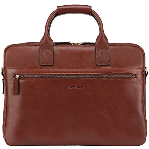 Banuce Italian Leather Tote Briefcase Business 15 inch Laptop Bag Color Brown by Banuce