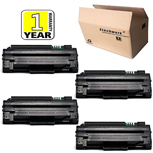 D105L MLT-D105L Toner Cartridge 4 Pack Black Compatible with ML-1910 ML-2525W ML-1915 SCX-4623FN ML-2545 SCX-4600 ML-2525 SCX-4623FW ML-2580n SF-650P SF-650 SCX-4623F Printer, Etechwork Brand