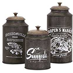 Imax 73383-3 Darby Metal Canisters - Set of 3 Handcrafted Lidded Kitchen Containers in Brown. Tabletop Kitchen Accessories