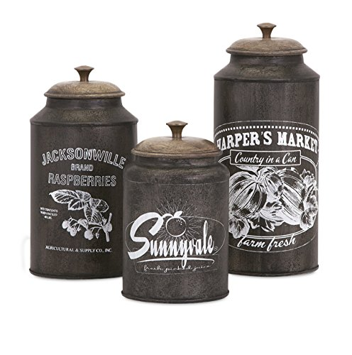 IMAX 73383-3 Darby Metal Canisters - Set of Three, Brown