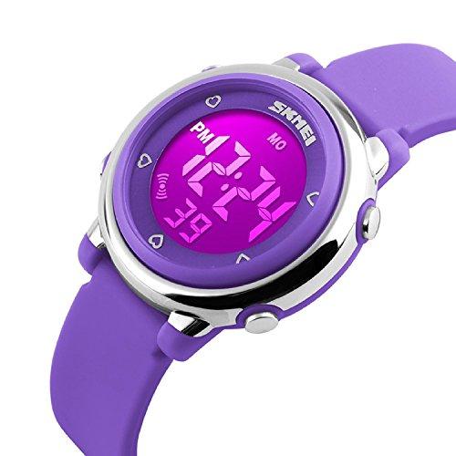 Bo Yi Digital LED Quartz Watches Water Resistant Children Girls Boys Outlook Sports Watch Purple