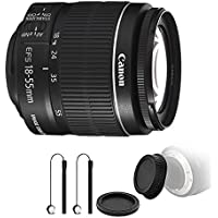 Canon EF-S 18-55mm f/3.5-5.6 IS II Lens with Rear, Front Lens Cap & Holders for Canon EOS 550D 500D 450D 400D