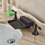 black 3 hole faucet - Rozin Deck Mounted 3 Holes Widespread Bathtub Faucet Waterfall Spout Mixer Tap Oil Rubbed Bronze