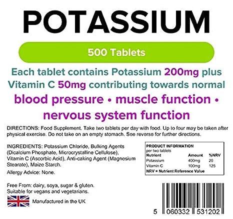 Lindens Potasio 200 mg en comprimidos | 500 Paquete | Contiene 50 mg de vitamina C por comprimido y contribuye a la normalidad de la presión arterial, ...