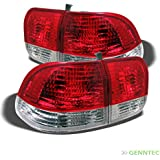 For 1996-1998 Civic 4dr Upper Red / Lower Clear Tail Lights Rear Brake Lamps Pair Left+RightNOT Fit 2Dr & 3Dr