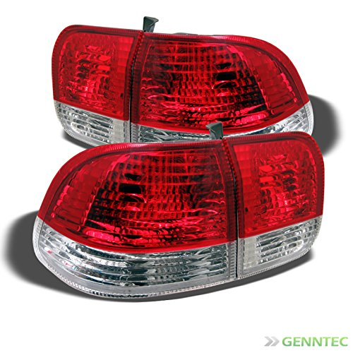 For 1996-1998 Civic 4dr Upper Red / Lower Clear Tail Lights Rear Brake Lamps Pair Left+RightNOT Fit 2Dr & (2dr Left Tail Lamp)