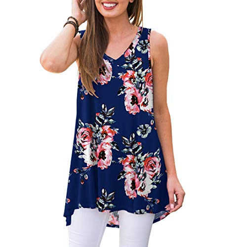 Tunic V-neck Shirt - AWULIFFAN Women's Summer Sleeveless V-Neck T-Shirt Short Sleeve Sleepwear Tunic Tops Blouse Shirts (Flower Navy Blue,S)