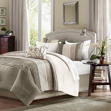 Home Essence Belleview 5-Piece Comforter Set, Queen, Natural