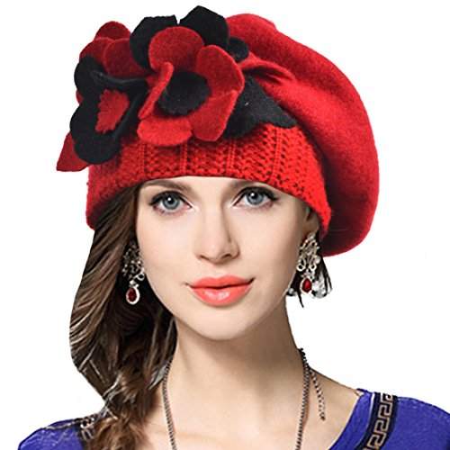 VECRY Lady French Beret 100% Wool Beret Floral Dress Beanie Winter Hat (Floral-Red)