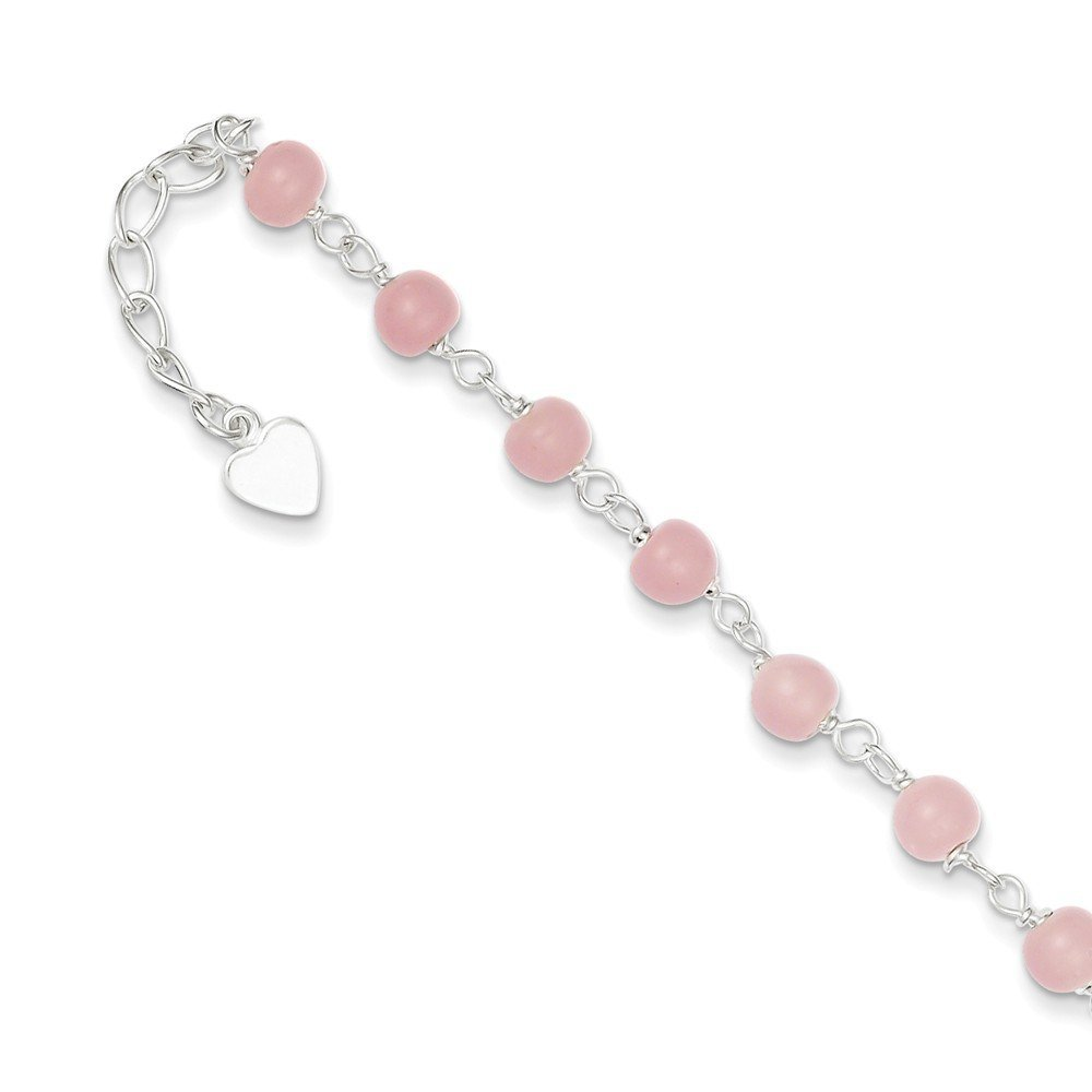 PriceRock Sterling Silver Pink Glass Bead with Heart Anklet 9 Inches Long
