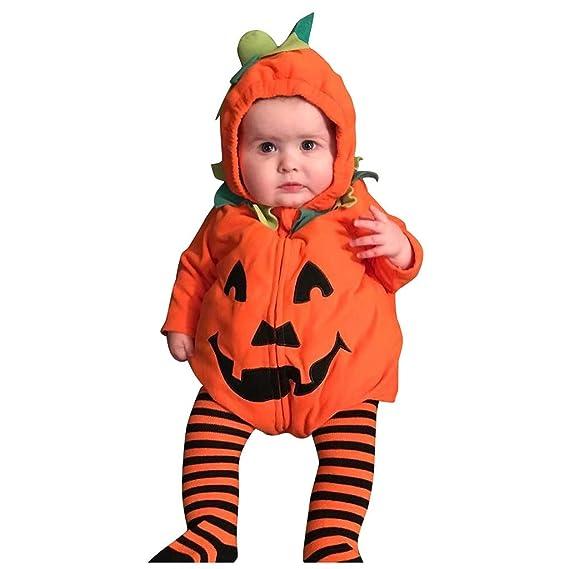 Baiomawzh Disfraz de Halloween Ropa Bebe Niña Niño Forma de Calabaza Monos Mamelucos con Capucha Hooded Cosplay Jumpsuit Peleles Cremallera Romper ...