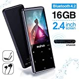 MYMAHDI MP3 Player with Bluetooth 4.2, Touch Buttons with 2.4 inch Screen, 16GB Portable Lossless Digital Audio Player with FM Radio, Voice Recorder, Support up to 128GB, Black