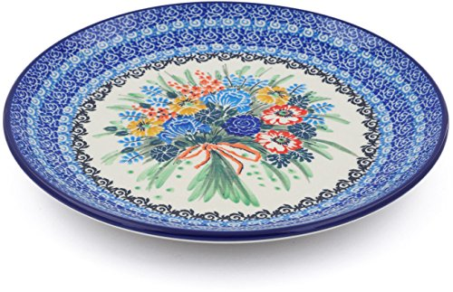 Polish Pottery 9¾-inch Lunch Plate made by Ceramika Artystyczna (Fall Bouquet Theme) Signature UNIKAT + Certificate of Authenticity ()