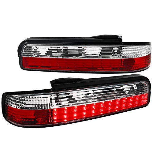 LED Tail Lights Rear Parking Lamps Red Clear For Nissan 240SX S13 Coupe 2 ()