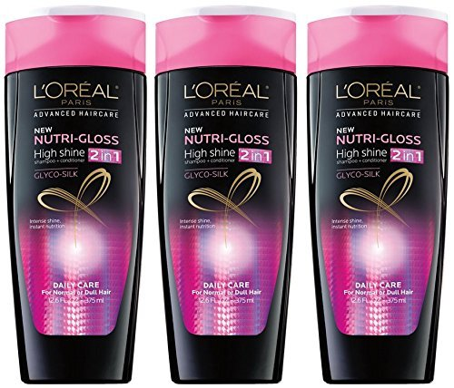 Conditioner Shampoo Moisturizing (Loreal Advanced 2 in 1 Shampoo Conditioner 12.6 Oz Nutri-Gloss Pack of 3)