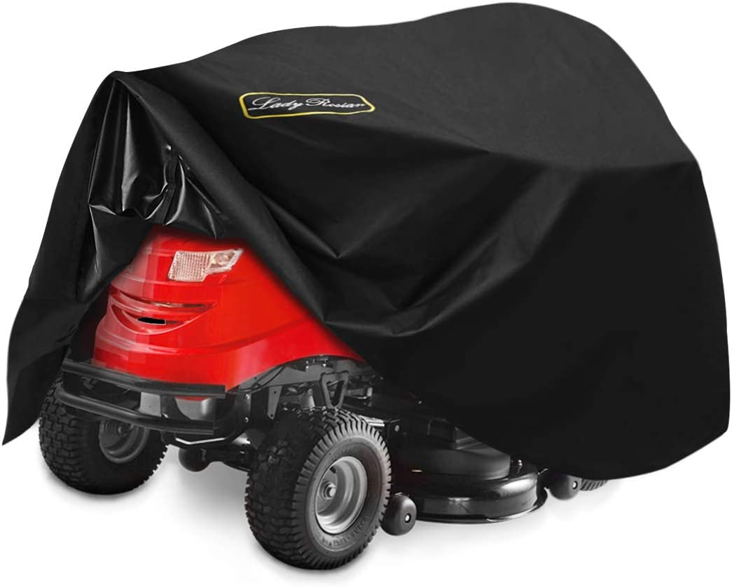 LadyRosian Lawn Mower Cover, Lawn Tractor Cover, 100% Waterproof 600D Heavy Duty Oxford UV Protection Riding Lawn Mower Cover Fits Decks up to 54
