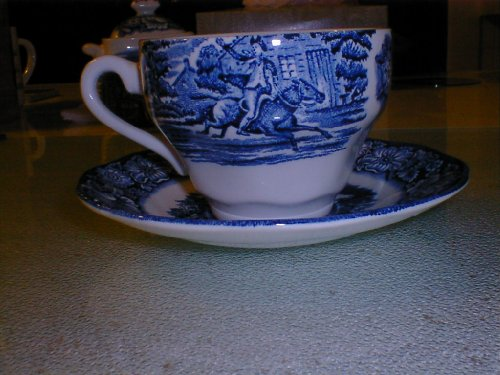 (Staffordshire Liberty Blue Saucer and Coffee Cup)