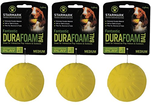 StarMark Triple Crown FANTASTIC FOAM BALL Floating Dog Fetch Toy MEDIUM 3 PACK