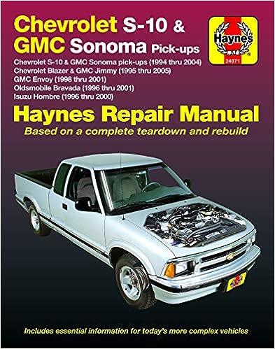 [DIAGRAM_38ZD]  Chevy S-10 & GMC Sonoma Pick-ups (94-04). Inc. S-10 Blazer & GMC Jimmy  (95-05), GMC Envoy (98-01) & Olds Bravada/Isuzu Hombre (96-01)(Does not  include Chevy Colorado/GMC Canyon.) (Haynes Automotive): Editors of Haynes | 98 Bravada Engine Wiring Diagram |  | Amazon.com