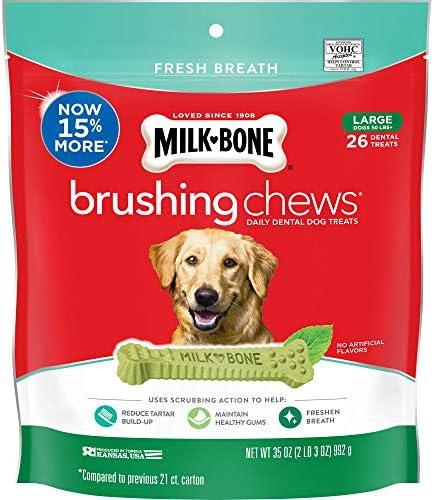 Milk-Bone Fresh Breath Brushing Chews Daily Dental Dog Treats, Reduce Tartar Build Up, Maintain Healthy Gums