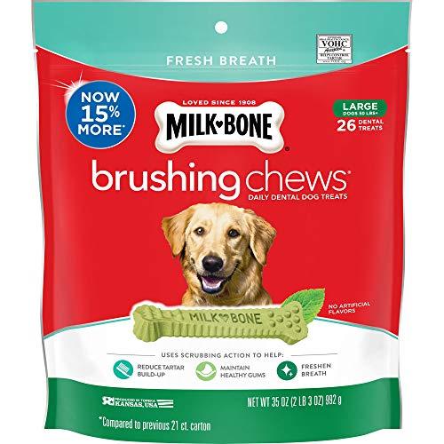 Milk-Bone Brushing Chews Daily Dental Dog Treats, Fresh Breath, Large, 35 oz Pouch