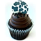 Cow Barnyard Animal Print Wafer Paper Toppers 1.5 Inch for Decorating Desserts Wedding Cakes Cupcakes Pack of 12