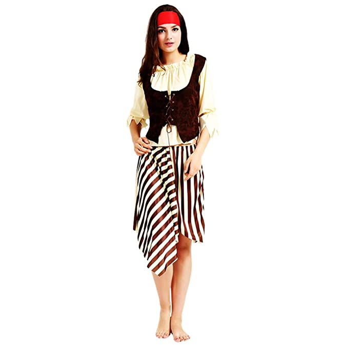 14839ccd33b6 Jitong Travestimenti di Halloween da Pirata Costume Adulto per Carnevale a  Righe, Completo Cosplay (Pirata |Donne, Taglia Unica): Amazon.it:  Abbigliamento
