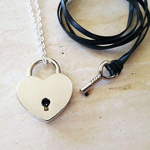 Silver Heart Lock & Key Couples Necklace - Couples Jewelry - Jewelry Set - Lock & Key Jewelry]()