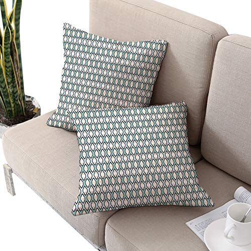Michaeal Folk Square futon Cushion Cover,Mosaic Inspired Pattern Abstract Folk Art Tiles Fractal Design Old Fashion Turquoise Black Cream W20 xL20 2pcs Cushion Cases Pillowcases for Sofa Bedroom Car