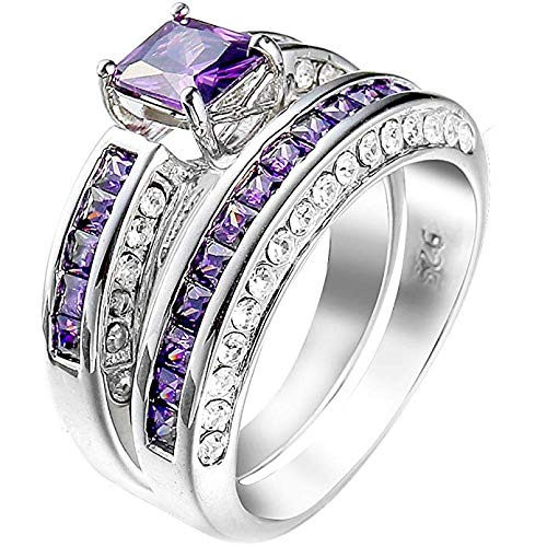 Metmejiao Womens Platinum Plated Square Cut Solitaire Purple Amethyst CZ Unique Design Promise Ring Wedding Band (9)