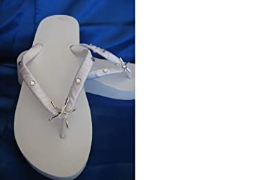 836b94ec01fad White Wedge Bridal Flip Flops Sandals with Silver Starfish and Rhinestones  Size 9