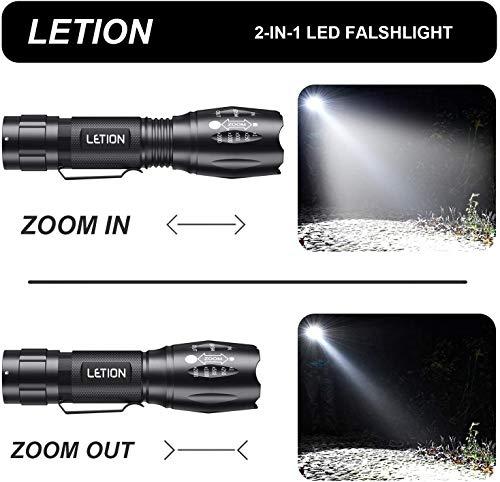 LETION Torcia LED Potente Luce Bianca UV Due in Uno, 500LM Impermeabile Torce Regolabile Focus 4 modalità per Campeggio attività All\'Aperto Tascabile