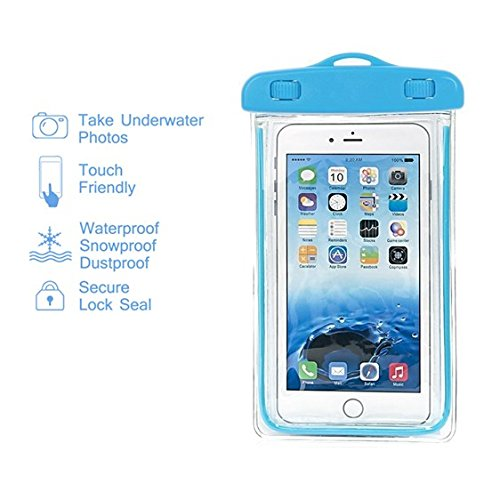Flower Power Knobs - Waterproof Case, SUMOON Universal Clear Waterproof Cellphone Case - Best Waterproof, Dustproof, Snowproof Bag for iPhone, Samsung Galaxy, LG and Other Smartphones up to 5.5 Inch (Blue)