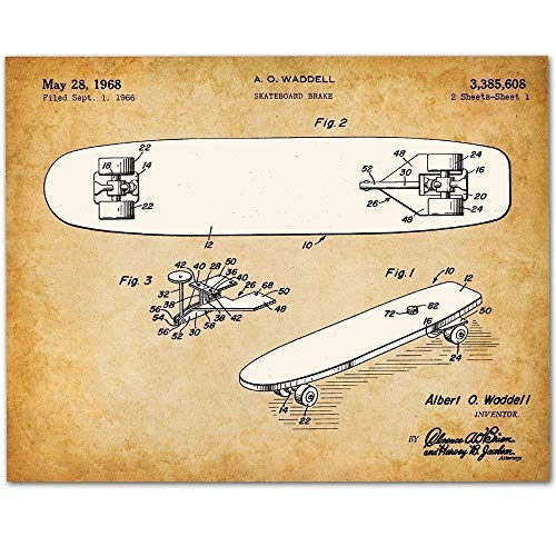 - Skateboard - 11x14 Unframed Patent Print - Makes a Great Gift Under $15 for Skateboarders or Boy's Room Decor