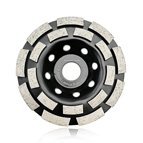SHDIATOOL 4-1/2 Inch Diamond Double Row Grinding Cup Wheel for Concrete Masonry Granite Marble Diamond Grinding Disc Fits 7/8 Inch Arbor