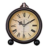 Foyou Vintage Silent Desk Alarm Clock Non Ticking Quartz Movement Battery Operated , HD Glass Lens, Easy to Read (2)