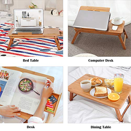 Laptop Desk Tray, MODRINE Laptop Table, Laptop Stand, Adjustable Portable 100% Bamboo Foldable Breakfast Serving Bed Tray with Tilting Top Drawer & Pattern Sculpture Heat Dissipation & Cup Holder