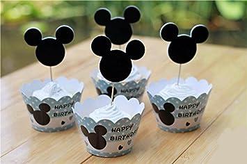 24set, Nuevo Mickey Cupcake Wrappers casos - recuerdo de la fiesta de cumpleaños para niños, Festa adornos para tartas (Púas Kids Party Supplies: Amazon.es: ...